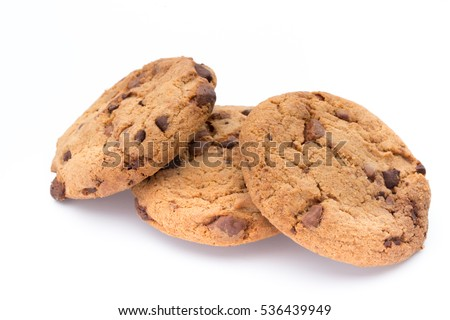 Chocolate chip cookie on white background. #536439949