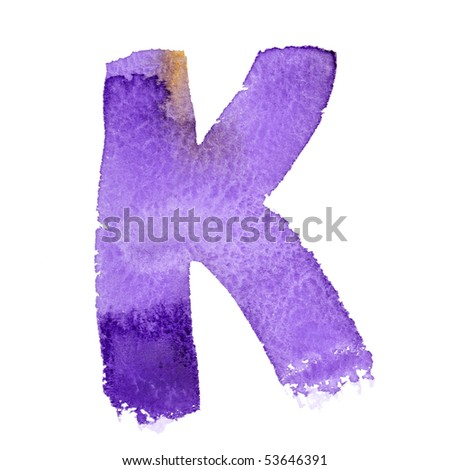 K - Watercolor letters isolated over the white background #53646391