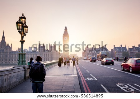 Westminster Bridge at sunset, London, UK #536514895