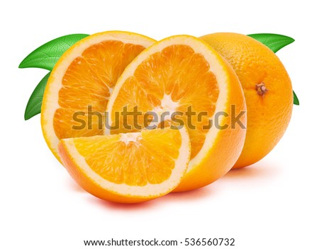 a cut oranges isolated on white background #536560732