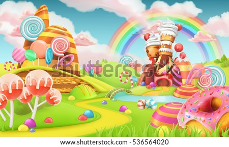 Sweet candy land. Cartoon game background. 3d vector illustration Royalty-Free Stock Photo #536564020