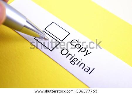 Copy or original? original. Royalty-Free Stock Photo #536577763