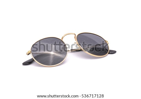 round sunglasses  isolated on white Royalty-Free Stock Photo #536717128