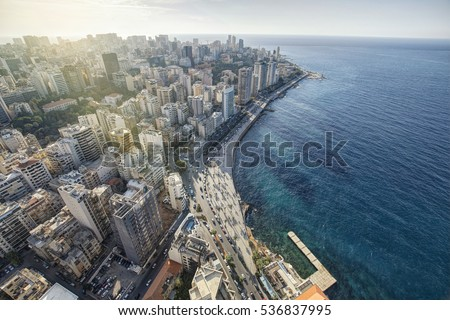 Aerial View of Beirut Lebanon, City of Beirut, Beirut city scape  Royalty-Free Stock Photo #536837995