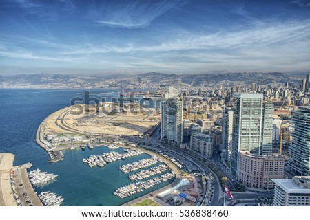Aerial View of Beirut Lebanon, City of Beirut, Beirut city scape  Royalty-Free Stock Photo #536838460