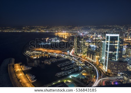 Aerial night shot of Beirut Lebanon , City of Beirut, Beirut city scape  Royalty-Free Stock Photo #536843185
