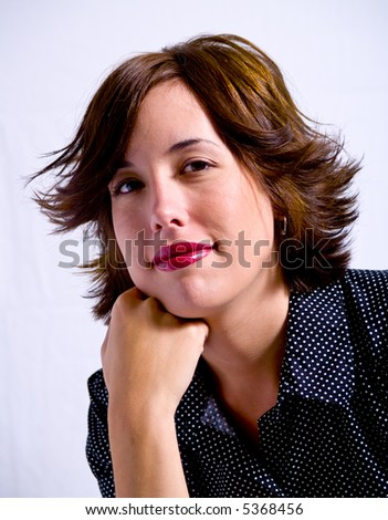 A portrait of an attractive young adult woman on a white background.. #5368456