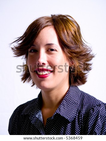A portrait of an attractive young adult woman on a white background.. #5368459