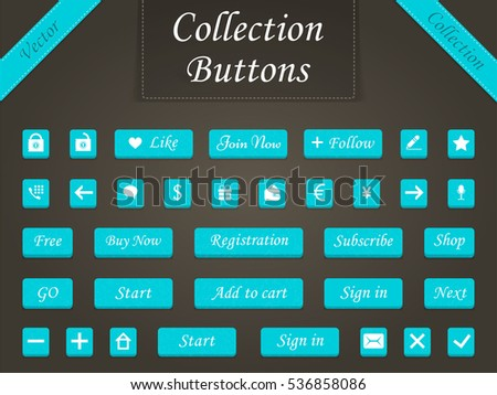 Set of modern buttons for design sites, programs and applications. Web elements - buttons for online shopping. Raster version. #536858086