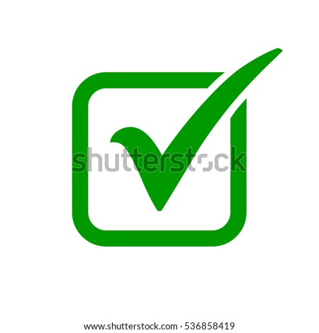 Green check mark icon in a box. Tick symbol in green color, vector illustration.