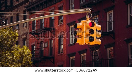 New York yellow traffic light