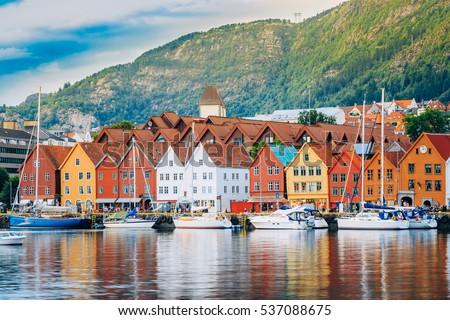Bergen, Norway. View of historical buildings in Bryggen- Hanseatic wharf in Bergen, Norway. UNESCO World Heritage Site #537088675
