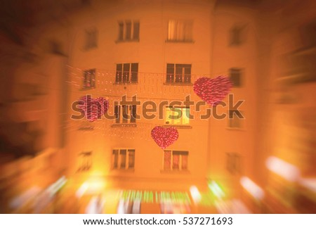 Zagreb, Croatia, Advent, decorated buildings, heart, backgrounds, textures, blurred image #537271693