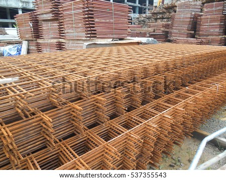 SELANGOR, MALAYSIA -DECEMBER 02, 2016: Welded Wiremesh, or BRC Fabric used as part of main structure component in floor slab material element in the construction site.  #537355543