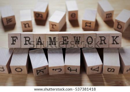 Framework Word In Wooden Cube #537381418