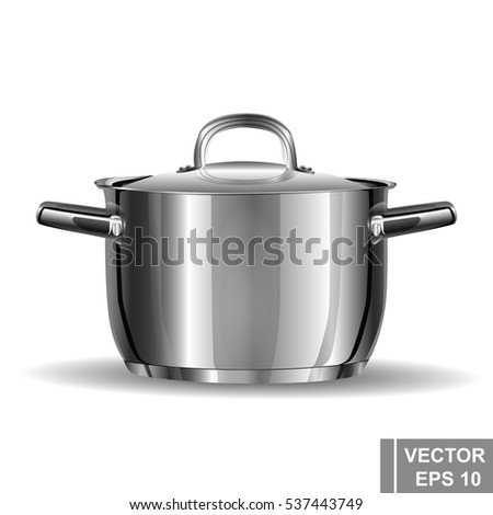 Metal pan realistic. Preparation wholesome food. Cooking. Kitchen tools. #537443749