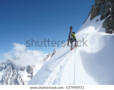 CHAMONIX,FR - CIRCA MARCH 2011 - Climbers on the Petite Aiguilles Verte #537490972