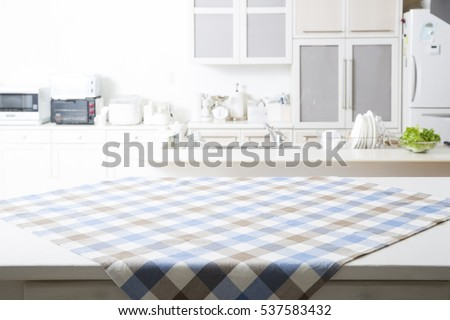 Kitchen background with table cloth Royalty-Free Stock Photo #537583432