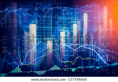 Stock market or forex trading graph and candlestick chart suitable for financial investment concept. Economy trends background for business idea and all art work design. Abstract finance background. Royalty-Free Stock Photo #537598660