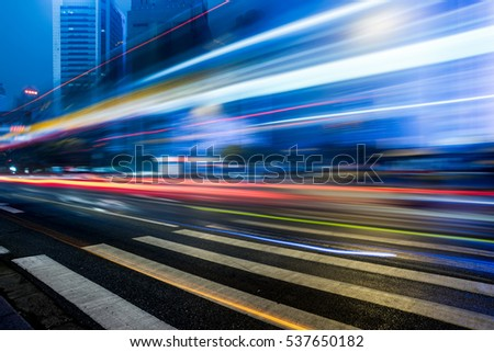 Traffic light trails in downtown of Hong Kong,China. #537650182