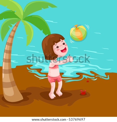 illustration of a girl playing ball at the beach