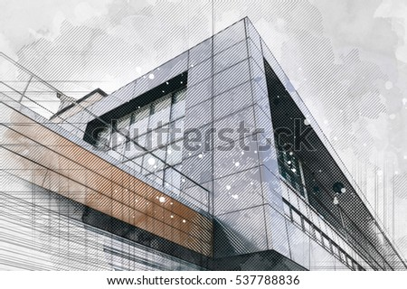 Modern architecture building background. Line and watercolor painting Royalty-Free Stock Photo #537788836