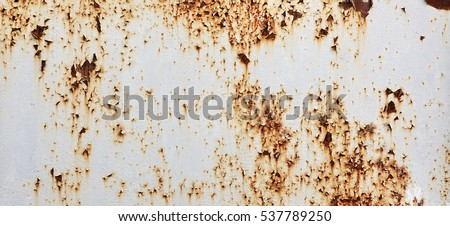 White Rust Metal Decayed Crumpled Sheet Wide Background. Weathered Iron Rusty  Isolated Metallic Texture. Corroded Steel Structure. Abstract Web Banner. #537789250
