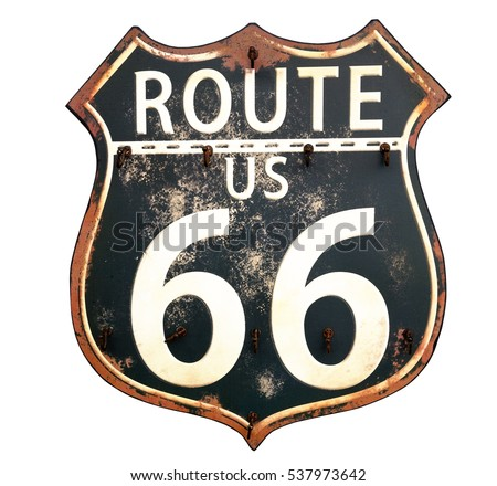 """Isolated black and white vintage Route 66 sign-The Mother Road memorialized in song by Bobby Troupe and in John Steinbeck's book and the movie """"The Grapes of Wrath."""" Royalty-Free Stock Photo #537973642"""