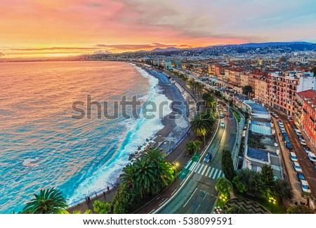 Nice in the evening after sunset Royalty-Free Stock Photo #538099591