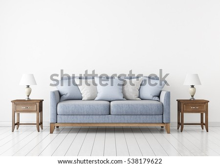 Livingroom with fabric sofa, pillows and lamps on empty wall background. 3D rendering. #538179622