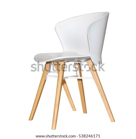 Modern plastic kitchen chair isolated on white background #538246171