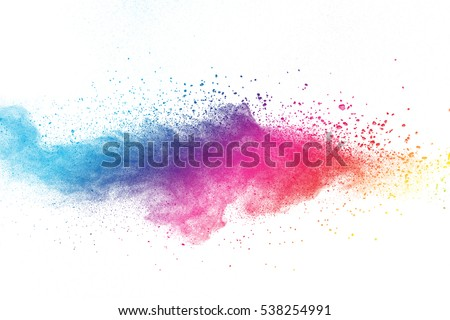 Launched colorful dust, isolated on white background Royalty-Free Stock Photo #538254991