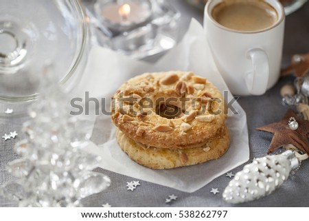 Homemade cookies with cup of coffee and Christmas decorations #538262797