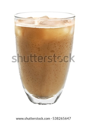 Glass of cold coffee on white background #538265647