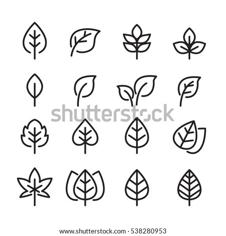 leaf line icon set Royalty-Free Stock Photo #538280953