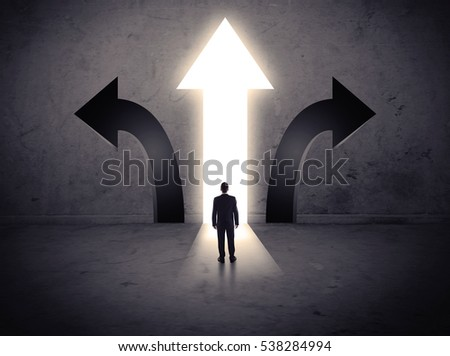 A businessman in doubt, having to choose between three different choices indicated by arrows pointing in opposite direction concept #538284994