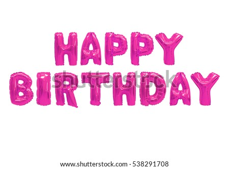 Word happy birthday in english alphabet from pink balloons on a white background. holidays and education.