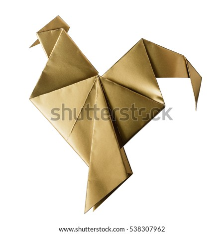 Shiny golden paper folded rooster handmade origami craft on white background isolated