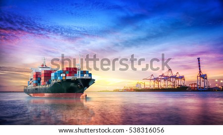 Logistics and transportation of International Container Cargo ship in the ocean at twilight sky, Freight Transportation, Shipping Royalty-Free Stock Photo #538316056