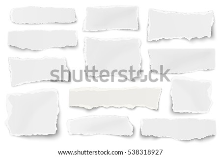 Set of paper different shapes scraps isolated on white background Royalty-Free Stock Photo #538318927