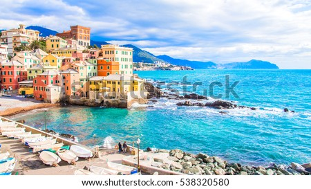 Sea in a winter day in Boccadasse, a district of Genoa in Italy, Royalty-Free Stock Photo #538320580
