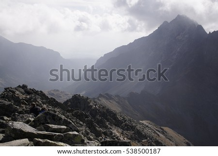 Cloudy vews and peaks of High Tatras. Slovakia #538500187