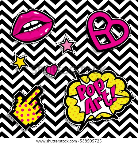 Pop art fashion chic patches, badges, pins and stickers. vector illustration. #538505725