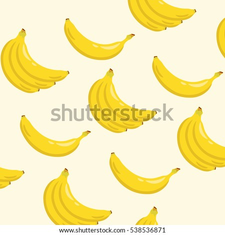 Yellow banana background pattern. Sweet tropical fruit illustration with white background. Vector illustration. #538536871