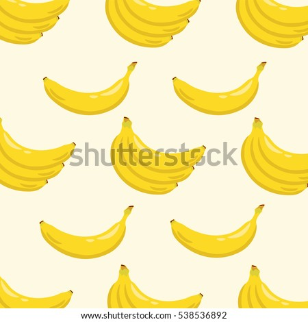 Yellow banana background pattern. Sweet tropical fruit illustration with white background. Vector illustration. #538536892