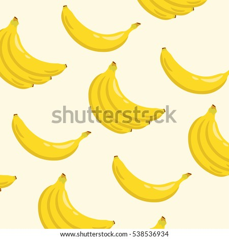 Yellow banana background pattern. Sweet tropical fruit illustration with white background. Vector illustration. #538536934