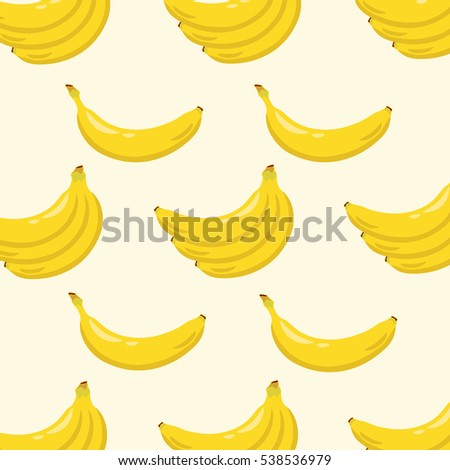 Yellow banana background pattern. Sweet tropical fruit illustration with white background. Vector illustration. #538536979