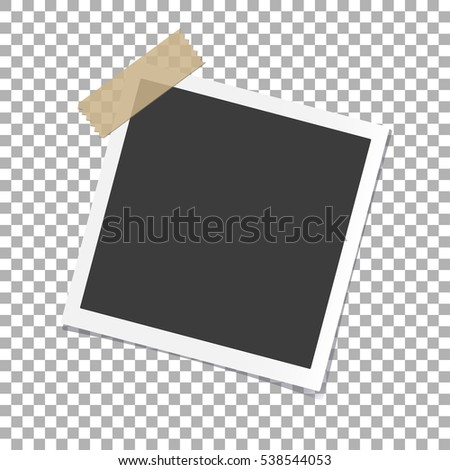 Photo Frame with shadow on Adhesive Sticky Tape Scotch, on isolate background, vector template for your stylish photos or images, EPS10 #538544053