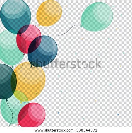 Glossy Happy Birthday Balloons on Transparent Background Vector Illustration eps10