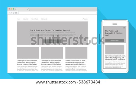 Simple responsive wireframe in a browser window and in a mobile phone #538673434